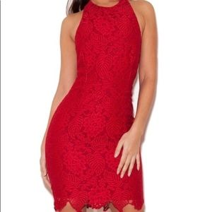 House of CB Mialy Red Lace Dress